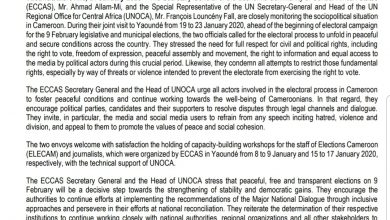 Photo of ECCAS, UNOCA call for peaceful elections in Cameroon