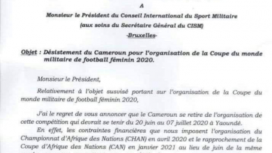 Photo of 'Broke' Cameroon withdraws from hosting 2020 military world cup